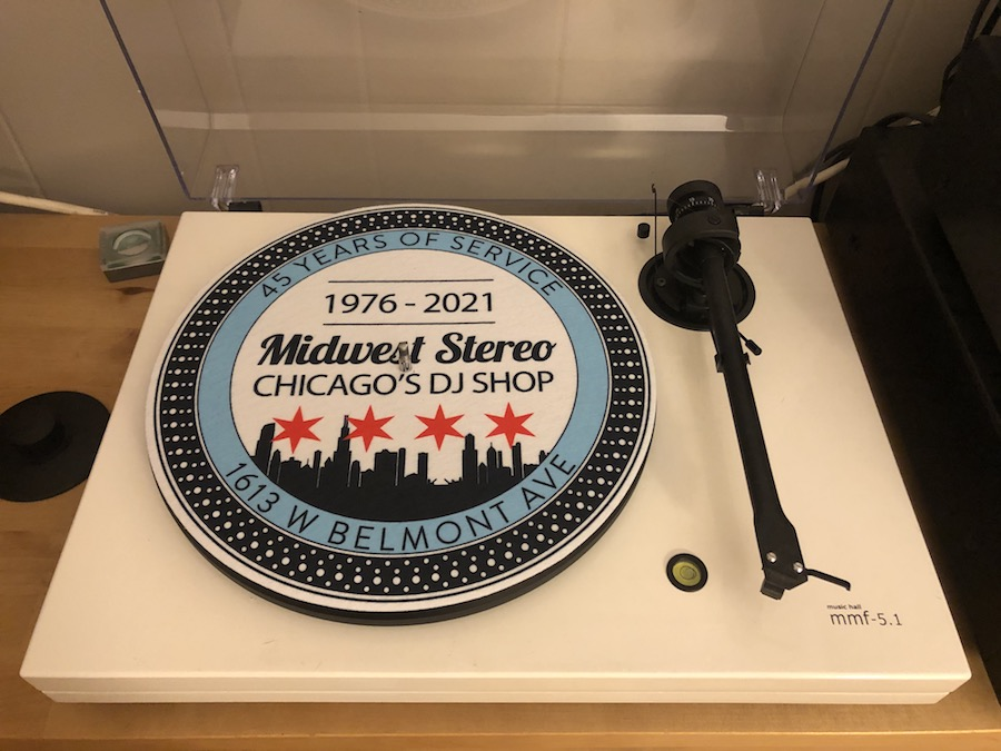 A turntable slipcover produced by Midwest Pro Sound and Lighting commemorating its 45 years in business.